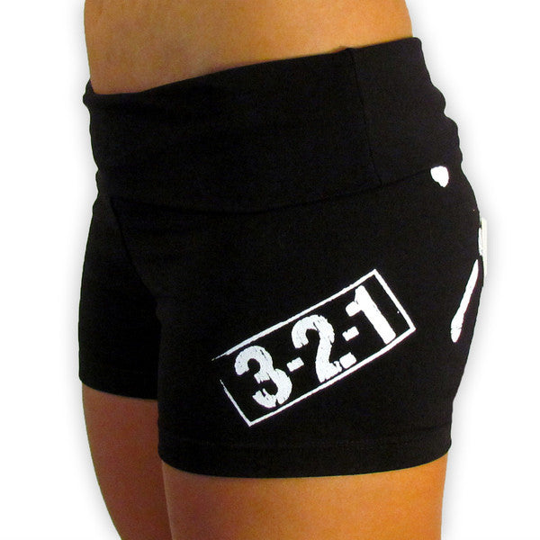 Chalk Print Women's CrossFit-Style Compression Shorts (side)