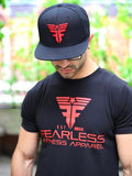 CrossFit-style T-shirts from Fearless Fitness Apparel (Black/Red with Cap)