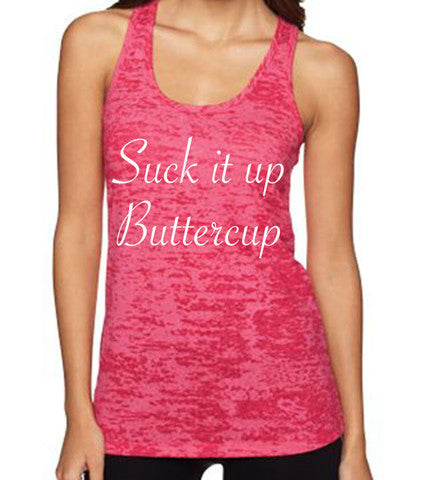 Suck It UP Buttercup women's CrossFit-style tank tops from Spin Off Apparel
