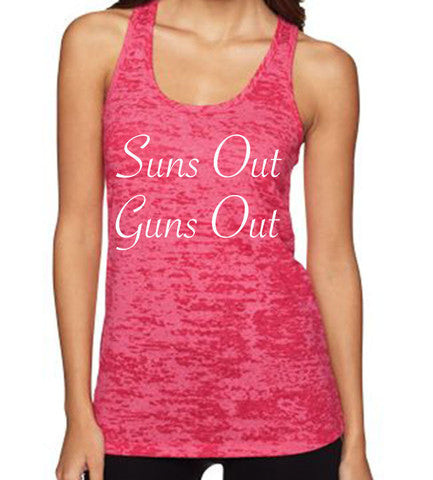 Suns Out Guns Out women's CrossFit-style tank tops from Spin Off Apparel