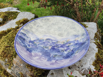 Medium Round Serving Bowl (with Rim) - Kate's Purple Heather
