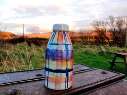 Milk Bottle Vase - Valinda's Rainbow Tartan