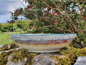 Large Round Serving Bowl (with rim) - Misty Isle