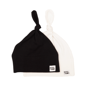 2 x Organic Tie Knot Hats - Black & White