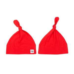 2 x Organic Tie Knot Hats - Navy & Red