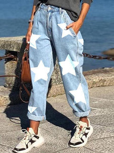 Loose Casual Five-pointed Star Print Straight Jeans