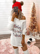 Round Neck Long Sleeve Letter Print Relax Tee Dress