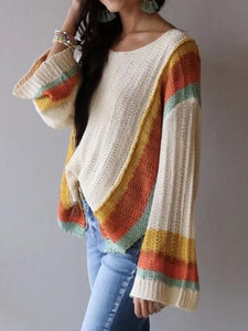 Patchwork Rainbow Color Casual Sweater
