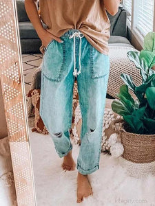 Wide-leg Loose-fit Ripped Straight Jeans