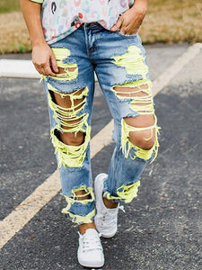 Pocket Ripped High Waisted Boyfriend jeans