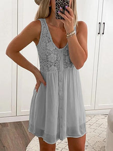 Loose Stitching Lace Floral Sleeveless Dress