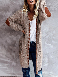 Long Sleeve Hollow Stitching Hooded Knit Cardigan