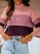 Turtleneck Color Block Long Sleeve Strip Sweater