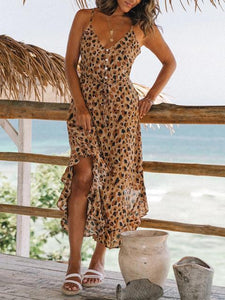 Leopard Print Single-breasted Ruffled Strap Dress