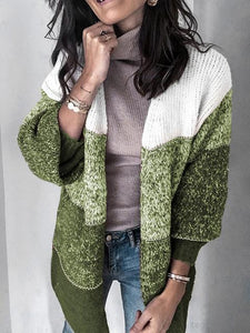 Stripe Stitching Color Block Knitwear Cardigan