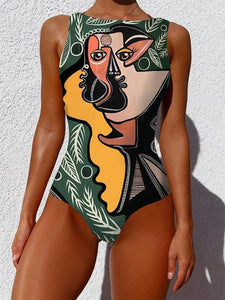 Graphic Print High Waist One-Piece Swimwear