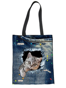 Cute Cat Casual Style Canvas Tote Bag