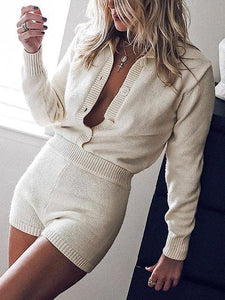 Chic Long-sleeve Waist Elastic Knitted Romper