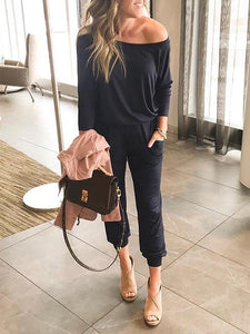 Fashion Casual Long-sleeved Pocket Lace-up Jumpsuit