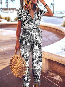 V-Neck Belt Waist Print Jumpsuit