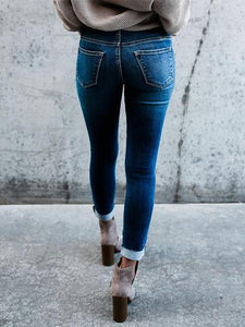 Frayed Ripped Slim-fit High-Waist Skinny Jeans