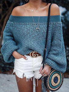 Lantern Long sleeve Off-the-shoulder Sweater