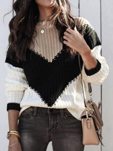 Fashion Strip Color Block Round Neck Loose Sweater