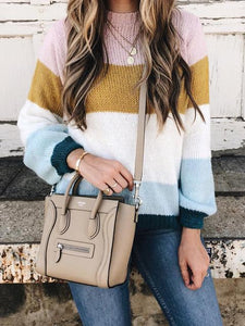 Round Neck Long Sleeve Multicolor Striped  Sweater