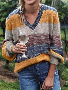 V-neck Multicolor Striped Sweater