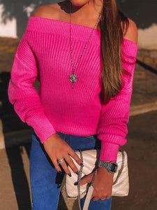 Fluorescent Color Off-shoulder Casual Sweater
