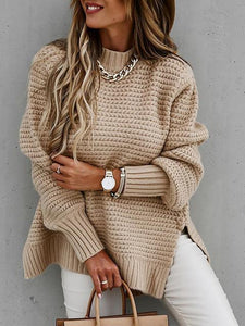 Half-Neck Slit Side Long Sleeve Relax Sweater