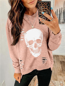 Washed Ripped Skull Print Sweatershirt