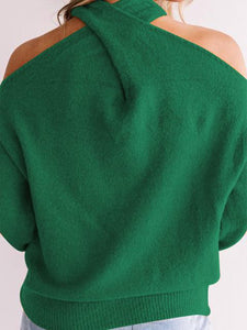 Cold Shoulder Back Cross-over Long-sleeved Sweater