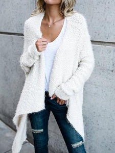 Irregular Mid-length Two-sided Solid Color Cardigan