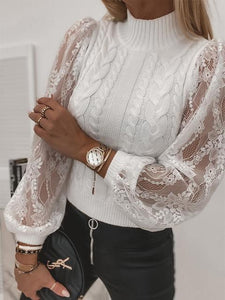 Braided Stitching Lace Lantern Sleeve Sweater