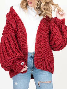 Hand-Woven Bat Lantern Sleeve Solid Color Oversize Sweater