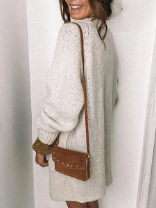 Solid Color Collarless White Knit Cardigan