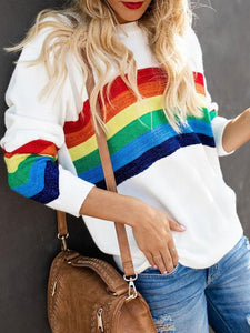 Bright Silk Rainbow Pattern Casual Sweater