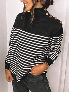 High Neck Button Striped Sweater