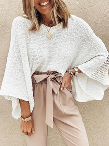 V-neck Hollow Mesh Asymmetrical knitwear Sweater