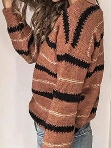 Color Block Long Sleeve Striped Sweater