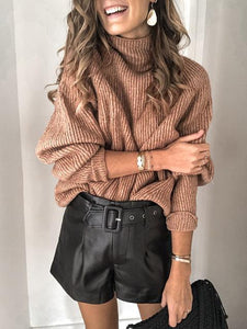 Turtleneck Ribbed Loose Pullover Sweater