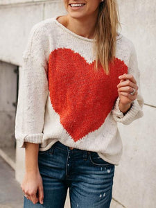 Round Neck Long Sleeve Love Print Casual Sweater
