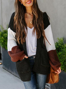 Casual Color Block Long Sleeve Strip Knit Cardigan