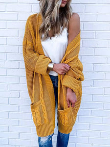 Solid Color Long-sleeved Twist Mid-length Sweater Cardigan
