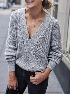 Long Lleeve Large V-neck Stitching Cross Front Sweater