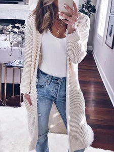 Casual Open Front Mid-Length Cardigan