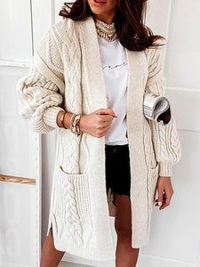 Relax Braided Pockets Mid-Length Knit Cardigan
