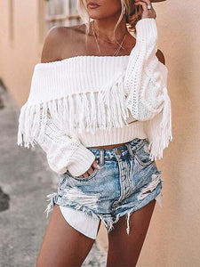 Off-shoulder Solid Color Long Sleeve Tassel Sweater
