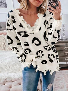 V-neck Leopard Print Sweater